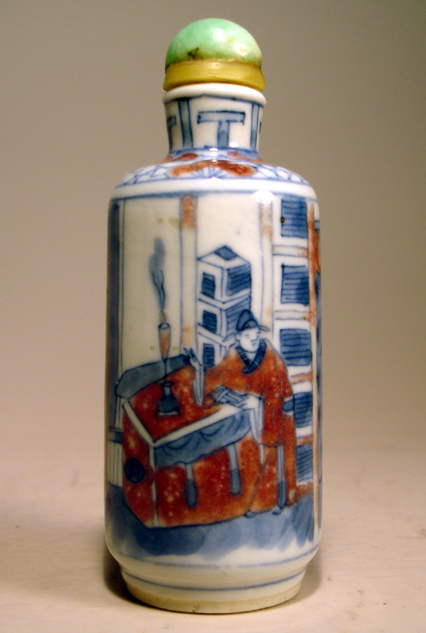 Blue & Under glaze Red Snuff bottle,19th Century