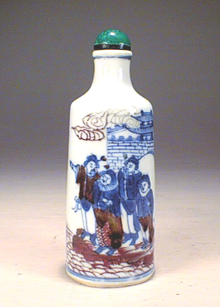 Under glazed blue & red snuff bottle,19th c.