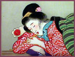 12 Japanese erotic paintings on silk, Meiji