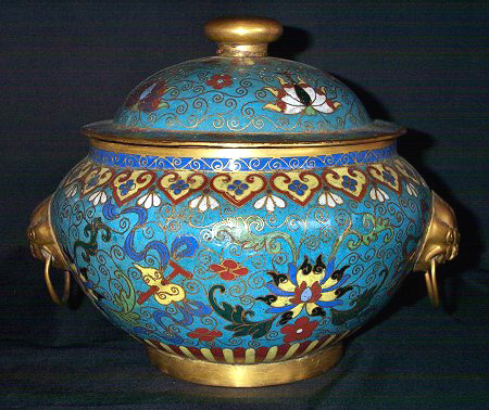 18th Century Chinese Cloisonne Urn and Cover
