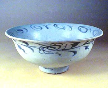 Carved Blue & White Bowl, Yuan Dynasty
